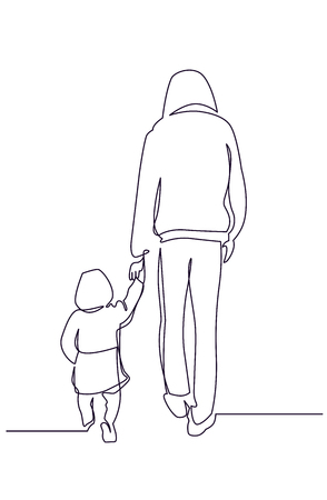 Young father with child one line hand drawn illustration. Fatherhood continuous line clipart. Man walking with toddler back view charcoal drawing. Brothers black and white vector sketch Иллюстрация