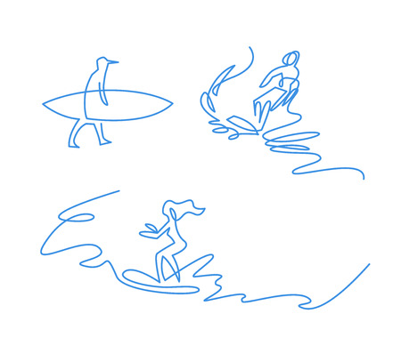 Surfing fans continuous one line vector drawing. Female surfers freehand blue ink characters set. Extreme water sport. Girl riding on wave minimalistic drawings. Man carrying surfboard doodle sketch