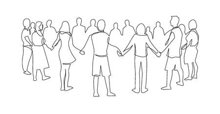 Unidad, amistad dibujo continuo de una sola línea. Gente, amigos tomados de la mano juntos. Cooperación comunitaria, conexión con la sociedad. Apoyo, trabajo en equipo, baile redondo. Ilustración de contorno dibujado a mano