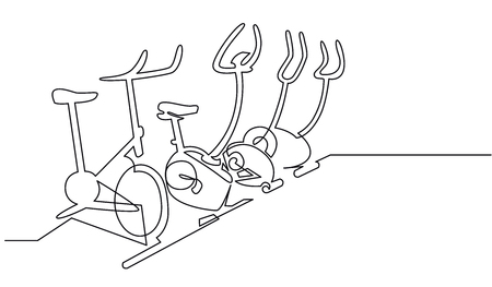Fitness club exercise continuous one line drawing. Minimalistic hand drawn stationary bicycles, treadmills. Healthy lifestyle, wellness, physical training equipment contour black ink illustration