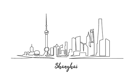 Shanghai architecture continuous one line vector drawing. Cityscape with skyscrapers hand drawn with inscription. City, metropolis attractions outline clipart. Travel postcard sketch vector design
