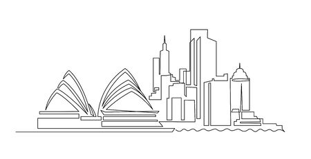 Sydney cityscape continuous one line vector drawing