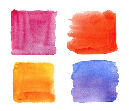 Color highlight stripes, square banners drawn with watercolor. Standard-Bild - 130572097