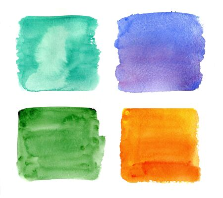 Color highlight stripes, square banners drawn with watercolor. Standard-Bild - 130572104