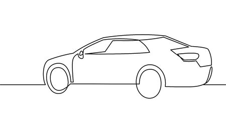 Continuous one Line Drawing of Vector illustration Passenger car.