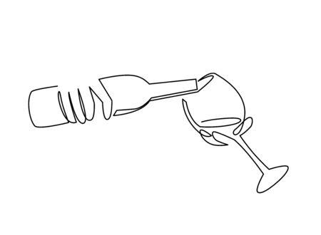Dibujo de línea continua vertiendo vino de botella a copa. Botella de alcohol en manos de un barman.