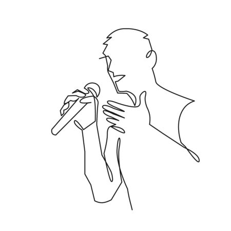 Man singing karaoke continuous one line drawing. Speaker with microphone tells a speech.