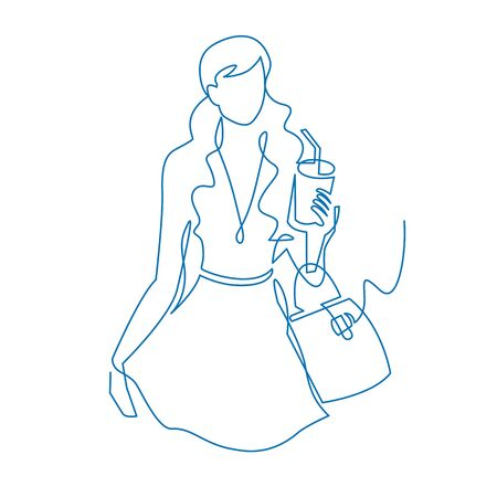 Woman with paper glass walking down the street continuous one line drawing. Ilustração