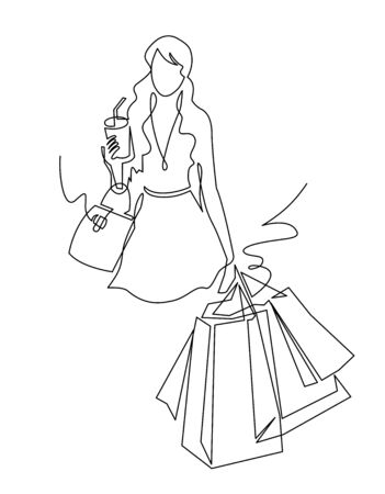 Continuous one line drawing Cute Woman with shopping bags in their hands. Vector illustration