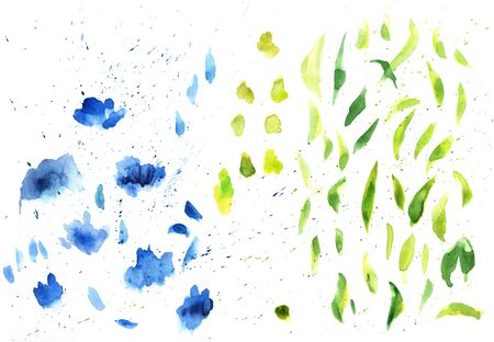 Watercolor splashes texture background. Hand drawn blue and green blots drawing.