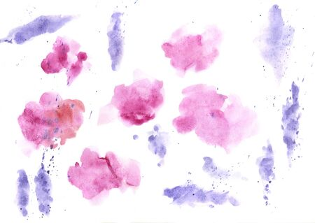 Watercolor splashes texture background. Hand drawn blue and purple blots drawing.