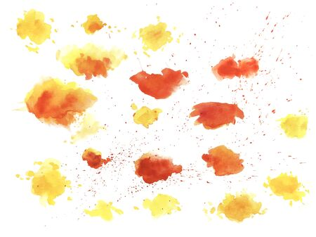 Watercolor splashes texture vector background. Hand drawn red nd yellow blots drawing.