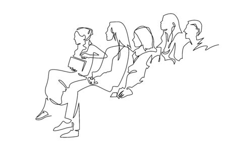 Continuous Line Drawing of Vector illustration character of audience in the conference hall Stock Illustratie