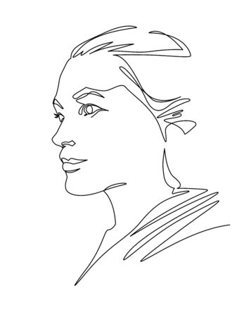 Continuous one line drawing woman face. Abstract female profile portrait