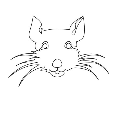Continuous one line drawing rat, Chinese Zodiac Sign Year of Rat, Happy Chinese New Year 2020