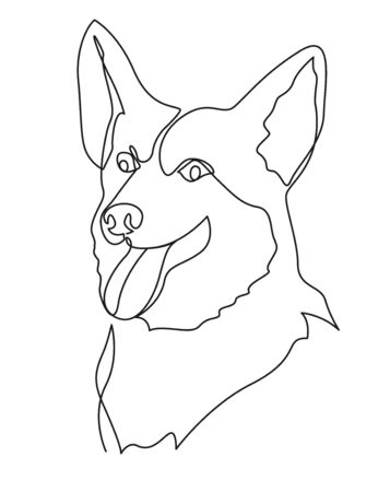 Continuous one line drawing Welsh Corgi Pembroke. Single line minimalistic contour illustration. 向量圖像
