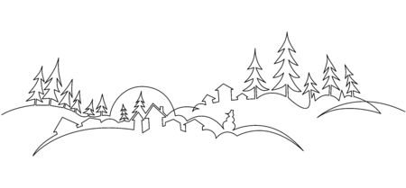Christmas landscape continuous one line vector drawing. Winter nature panoramic sketch.