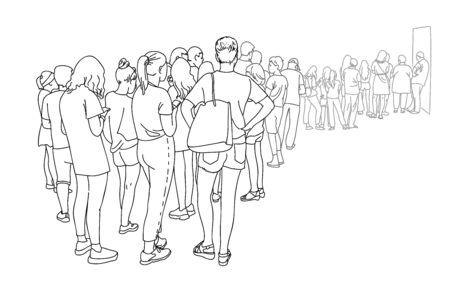 Kontur rysowania linii grupy ludzi czekających w kolejce. Stojący tłum. Kobiety i mężczyźni w kolejce przy kasie.
