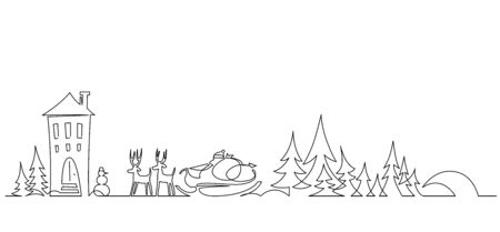 Christmas landscape continuous one line vector drawing. Santa in sleigh with deers, trees, snowdrifts, snowman