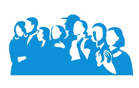 Group of people silhouettes vector banner design. Female and male figures clipart. Stock Illustratie