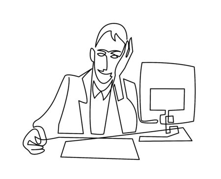 continuous line drawing of thoughtful businessman, designer or manager working behind computer