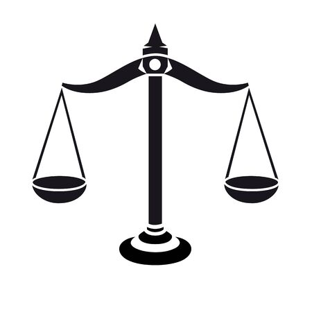 Justice scales black and white icon. Weight balance symbol silhouette.