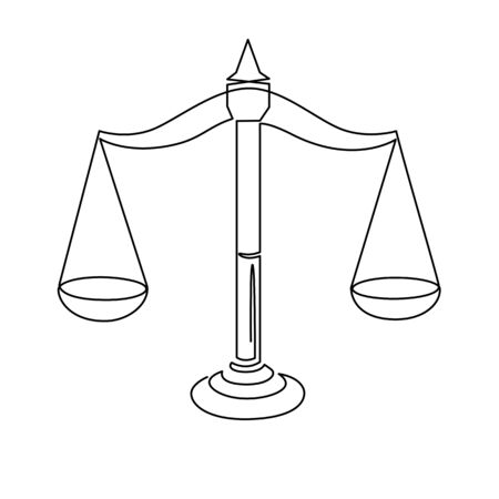 Justice scales continuous one line drawing. Weight balance symbol outline silhouette. Libra or law identity concept Ilustração