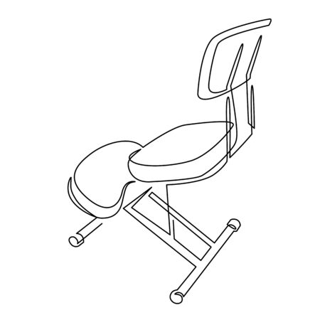 Kneeling Chair for Good Posture continuous one line drawing. Knee Chair for Desk Work Ergonomisc Office.