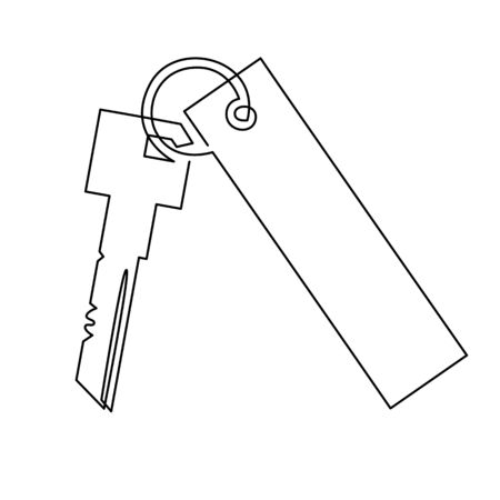 Keys with keychain. Vector illustration. Icon of door keys or car keys. Outline isolated silhouette. Concept for the purchase of real estate or realtor services logo.