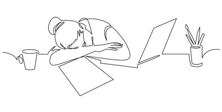 Girl sleeping on desk continuous one line drawing . Tired woman, freelancer leaning on table cartoon character.