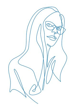 Continuous one line drawing woman face in glasses. Ilustracja