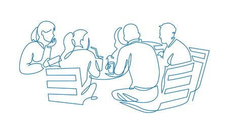 Business team meeting continuous line drawing. Friends in cafe contour vector illustration. 向量圖像