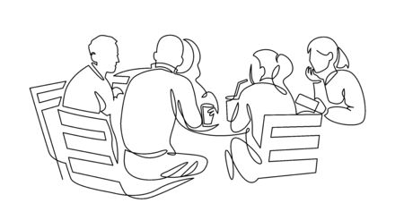 Equipo de negocios reunión dibujo de línea continua. Amigos en la ilustración de vector de contorno de café.