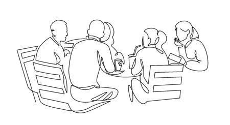 Geschäftsteam, das kontinuierliche Strichzeichnung trifft. Freunde in der Cafékontur-Vektorillustration.
