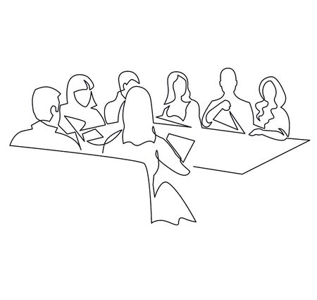 Business team meeting continuous line drawing. Coworkers discussing