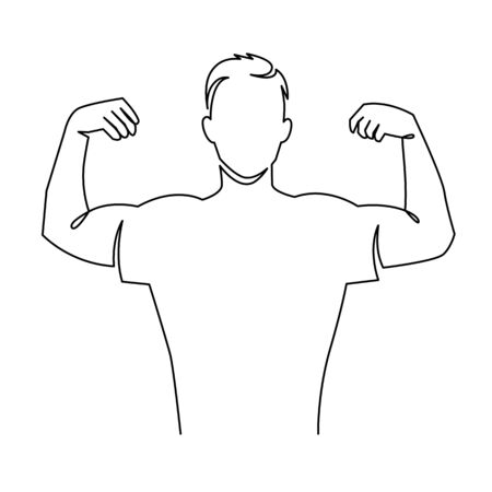 Man shows bicep continuous one line vector drawing. Bodybuilder demonstrating muscular shoulder. Ilustracja
