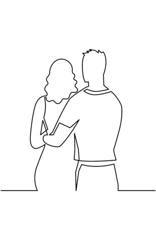 Romantic relationship continuous one line drawing. Romance, young couple in love hug one another vector art 向量圖像