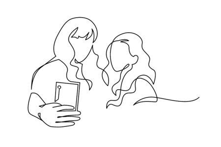 Continuous One Line Drawing of Selfie lgbt lover couple. Two friends holding smartphone, making selfie