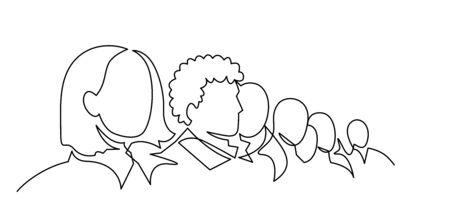 Gruppe von Personen kontinuierliche einzeilige Vektorgrafik. Menge, die beim Konzert steht, sich trifft.