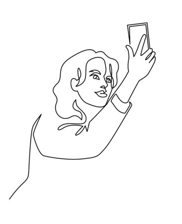 Continuous One Line Drawing of Selfie beautiful woman blogger. Vector illustration girl holding smartphone Ilustracja