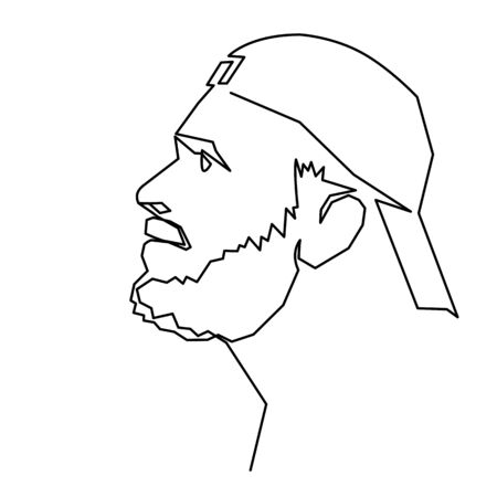 Continuous one line drawing of adult man portrait with beard and mustache. Fashionable mens style vector