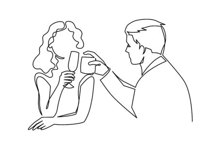 Couple drinking wine continuous one line vector drawing. Lovers. Romantic date. Valentines day celebration.