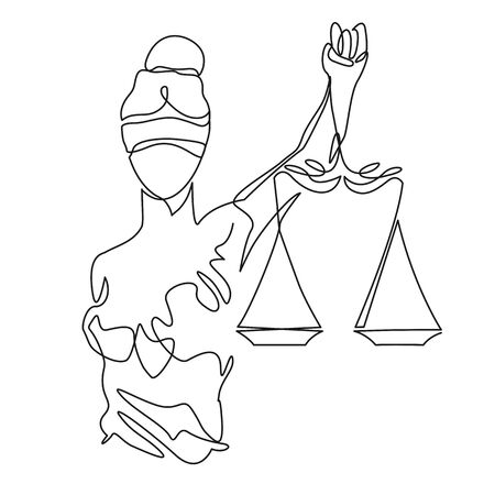 Themis statue holding scales balance continuous one line vector drawing. Symbol of justice, law and order. Illustration