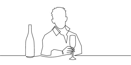 Man holding wine glass and bottle at the bar continuous one line vector drawing.