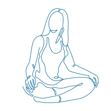 Meditation Training Thin Line Vector Icon Isolated on the White