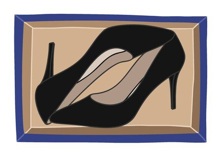 A high-heeled black court shoe new in shoebox top view.