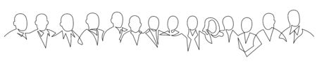 Group of people continuous one line vector drawing. Crowd standing at concert, meeting.