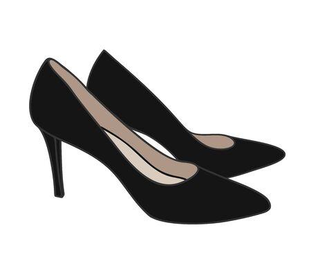 Una ilustración de estilo de dibujos animados de vista superior de zapato de corte negro de tacón alto