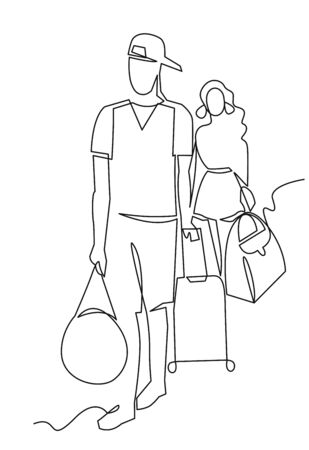 Tourists continuous one line vector drawing. Group of people with baggage. Friends company traveling. Hand drawn travelers. Family. Two young couples waiting.