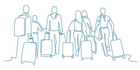 People walking with luggage continuous one line vector drawing. Tourists in airport hand drawn characters. Female and male silhouettes with baggage, handbags